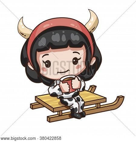 Vector Illustration Of Cute Chibi Character Isolated On White Background. Cartoon Girl In Cow Costum