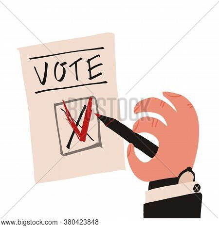 Ballot Letterhead And Hand Of Man Who Crossing Out The Previous Choice Or Answer And Changing The Vo