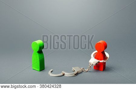 Green Man Is Freed From Captivity Of Red Person. Finding Freedom, Stop Slavery, Respecting Human Rig