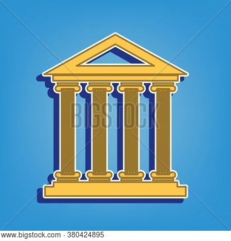 Historical Building Illustration. Golden Icon With White Contour At Light Blue Background. Illustrat