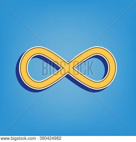 Limitless Symbol Illustration. Golden Icon With White Contour At Light Blue Background. Illustration