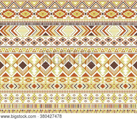 Rhombus And Triangle Symbols Tribal Ethnic Motifs Geometric Vector Background. Abstract Gypsy Tribal