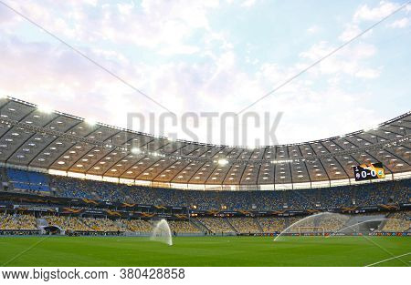 Kyiv, Ukraine - August 5, 2020: Panoramic View Of Nsc Olimpiyskyi Stadium In Kyiv During The Uefa Eu