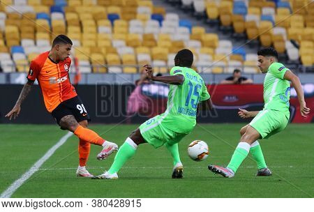 Kyiv, Ukraine - August 5, 2020: Dodo Of Shakhtar Donetsk (l) Fights For A Ball With Jerome Roussillo