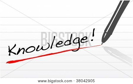 Knowledge Written On A Notepad Paper And A Pen