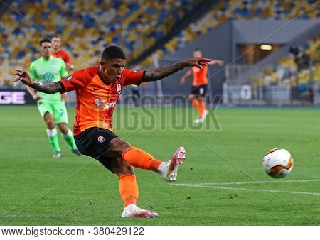 Kyiv, Ukraine - August 5, 2020: Dodo Of Shakhtar Donetsk Kicks A Ball During The Uefa Europa League