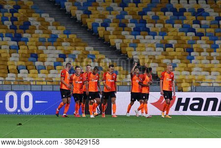 Kyiv, Ukraine - August 5, 2020: Shakhtar Donetsk Players Celebrate After Scored A Goal During The Ue