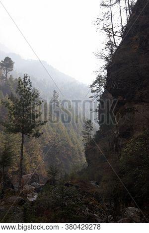 Deep Ravine With Morning Mist, Everest Trail, Himalayas, Nepal