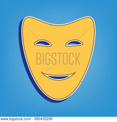 Comedy Theatrical Masks. Golden Icon With White Contour At Light Blue Background. Illustration.