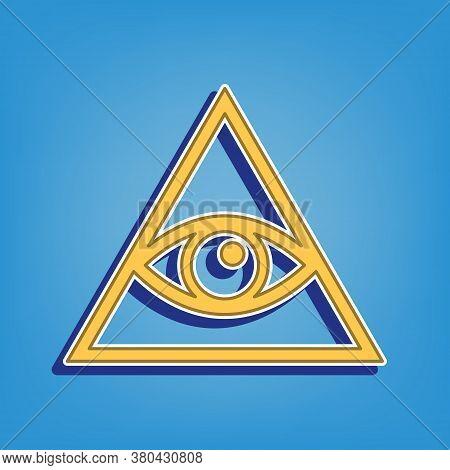 All Seeing Eye Pyramid Symbol. Freemason And Spiritual. Golden Icon With White Contour At Light Blue