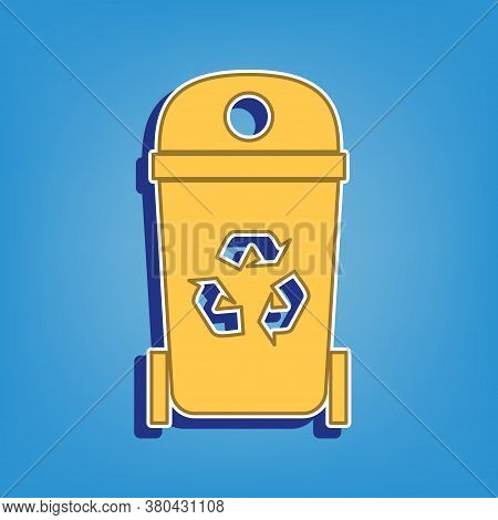 Trashcan Sign Illustration. Golden Icon With White Contour At Light Blue Background. Illustration.