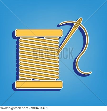 Thread With Needle Sign Illustration. Golden Icon With White Contour At Light Blue Background. Illus