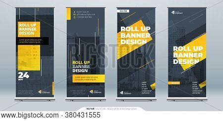 Business Roll Up Banner. Abstract Roll Up Background For Presentation. Vertical Roll Up, X-stand, Ex