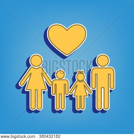 Family With Heart. Husband, Wife With Childrens. Golden Icon With White Contour At Light Blue Backgr