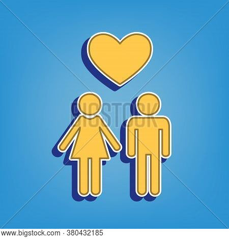 Family With Heart. Husband And Wife. Golden Icon With White Contour At Light Blue Background. Illust