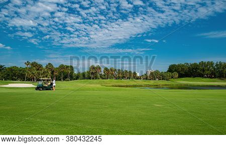 Golf Club In The Usa. Nature And Sport. Panorama View Of Golf Course With Putting Green. Golf Course