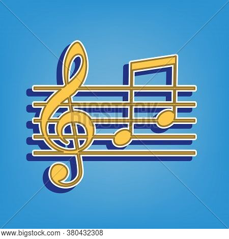 Music Violin Clef Sign. G-clef And Notes G, H. Golden Icon With White Contour At Light Blue Backgrou