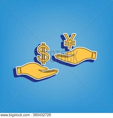 Currency Exchange From Hand To Hand. Dollar And Yen. Golden Icon With White Contour At Light Blue Ba