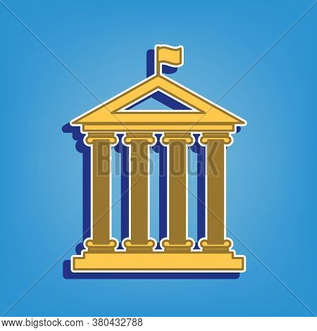 Historical Building With Flag. Golden Icon With White Contour At Light Blue Background. Illustration