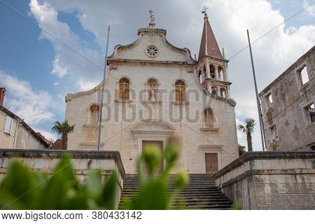 Huge Old Christian Church In The Small Town Of Milna On The Island Of Brac