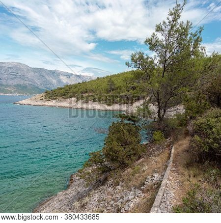 Hidden Cove Beach On The Island Of Brac, Croatia. Rocky Shore With Forest Trees Surrounding The Smal