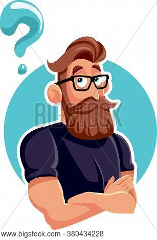 Thinking Hipster Bearded Man With Question Mark Vector Cartoon
