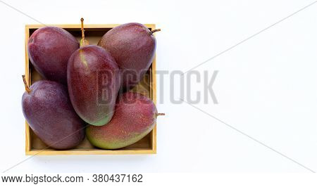 Tropical Fruit, Fresh Mango In Wooden Box On White Background. Top View With Copy Space