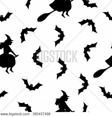 Halloween Seamless Pattern With Witch And Bat. Halloween Background With Witch And Bat. Colored Vect