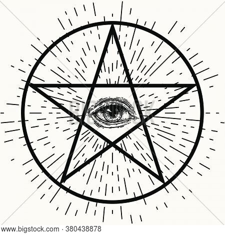 Eye Of Providence, Sacred Masonic Symbol. All Seeing Eye With Rays Of Light Inside The Pentacle. Rel