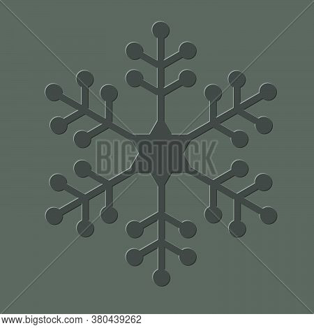 One Letterpress Embossed Snowflake, Traditional Winter Symbol.