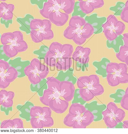 Abstract Water Color Flower Vector Pattern, Repeating Pink Flower With Green Leaves On Yellow Backgr