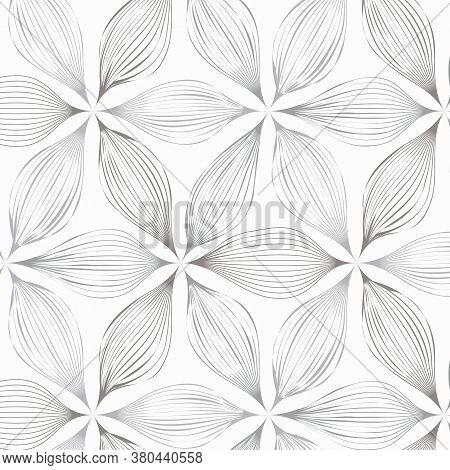 Linear Vector Pattern, Repeating Abstract Leaves, Gray Line Of Leaf Or Flower, Floral. Graphic Clean