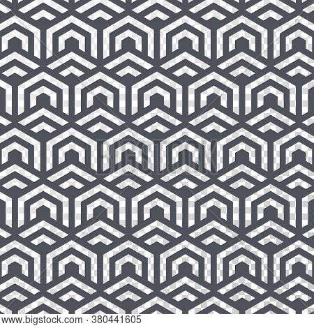 Geometric Vector Pattern, Repeating Stripe Linear Hexagon And Chevron Shape With Transparent Backgro