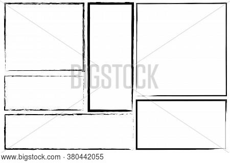 Borders Of Rectangle Frames. Square Brush Drawn Vector. Set Of Hand Drawn Frames.