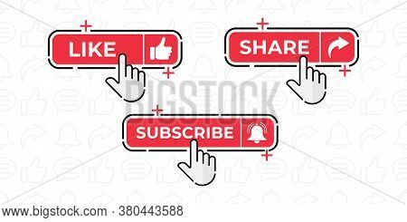 Like, Share, Comment, Subscribe and share icon button vector illustration. Social media icon vector. Social media background. Set of social media button icon vector illustration design template for video channel, blog and background banner.
