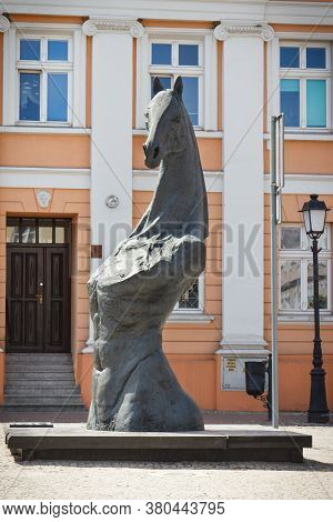 Konin, Poland - June 3, 2017: View On Legendary Horse Statue In Polish Town Konin At Plac Wolnosci S