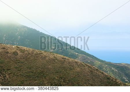 View Of The Central California Coast And The Pacific Ocean Surrounded By Fog And Low Clouds Taken Fr