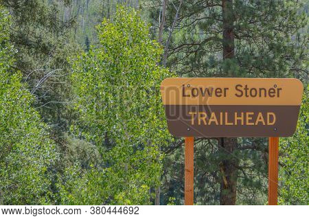 The Lower Stoner Trailhead Sign For Hikers In The Mountainous Region Of Montezuma County, Colorado