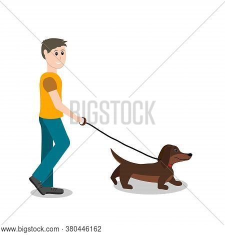 A Man Leads A Dachshund Dog On A Leash, Color Isolated Illustration On A White Background, Clipart,
