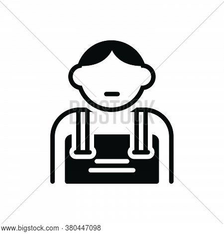Black Solid Icon For Kid Tad Laddie Youngling Babe Children Brood Progeny Descendant Scion Generatio