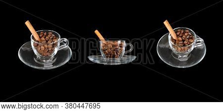 Set Of Coffee Cup With Grains Isolated On A Black Background. Coffee Beans And Vanilla Stick In A Co