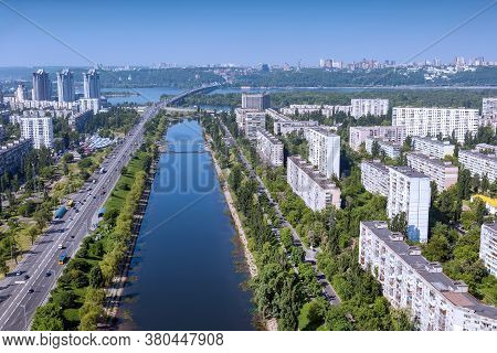 City Aerial View Of The Bridge And River. Rusanovsky Channel View From Above. Kiev Panorama View Of