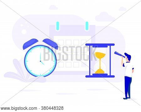 People Planning Concept. Planning A Time Schedule By Filling In A Time Schedule. Vector Illustration