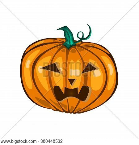Vector Illustration Of Cartoon Halloween Pumpkin With Evil Face. Isolated On White Backgroound