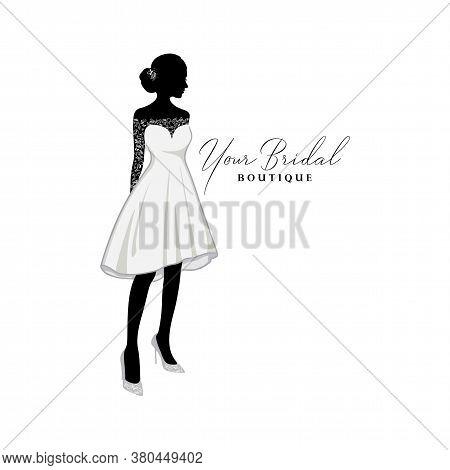 Beautiful Bride Brocade Short Gown Logo Ideas, Bridal Boutique Logo, Bridal Gown Logo Vector Design
