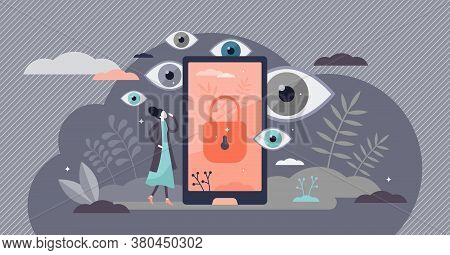 Privacy As Personal Data Protection With Security Safety Tiny Persons Concept. Abstract Eyes Peek In