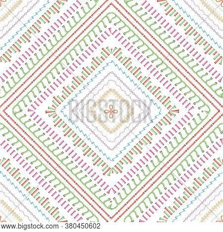 Sewing Stitches Seamless Pattern Or Thread Embroidery Texture Vector Illustration.