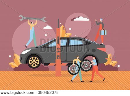 Tire Change And Car Service, Auto Repair Shop, Vector Flat Illustration