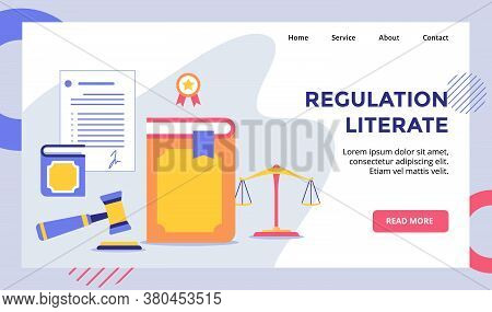 Regulation Literate Book Campaign For Web Website Home Homepage Landing Page Template Banner With Mo