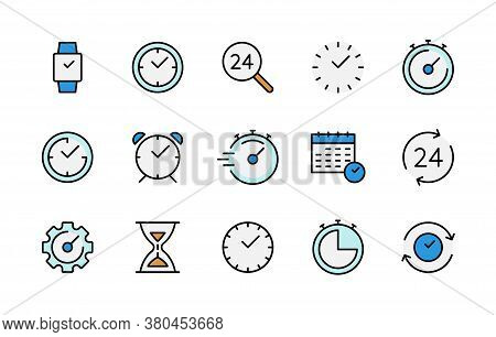 Time And Clock Color Linear Icons Vector Symbol Set. Collection Of Time, Clocks, Timer, Control, Spe